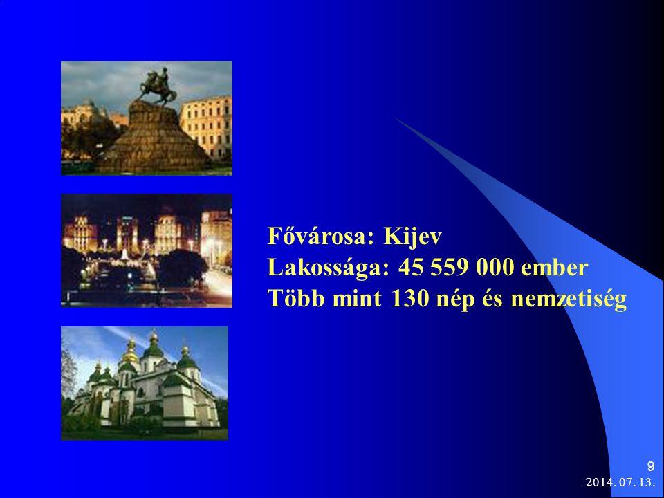 9 Fővárosa: Kijev Lakossága: 45 559 000 ember Több mint 130 nép és nemzetiség