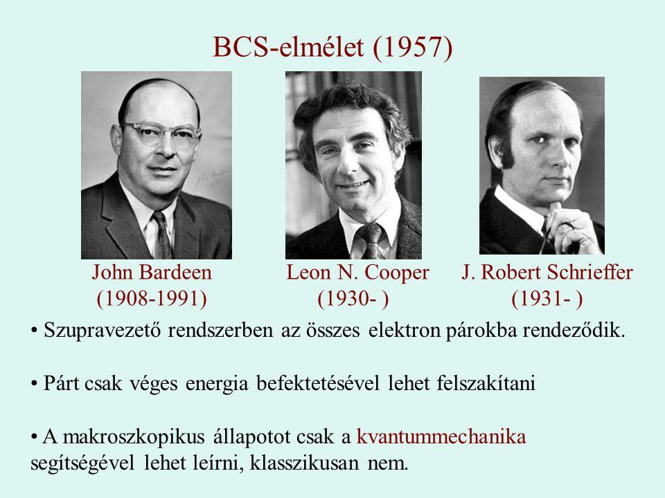 BCS-elmélet (1957) John Bardeen (1908-1991) Leon N. Cooper (1930- ) J. Robert Schrieffer (1931- ) Szupravezető rendszerben az összes elektron párokba
