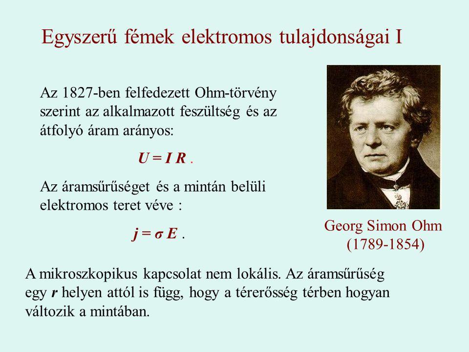 Az 1827-ben felfedezett Ohm-törvény szerint az alkalmazott feszültség és az átfolyó áram arányos: U = I R. Az áramsűrűséget és a mintán belüli elektro