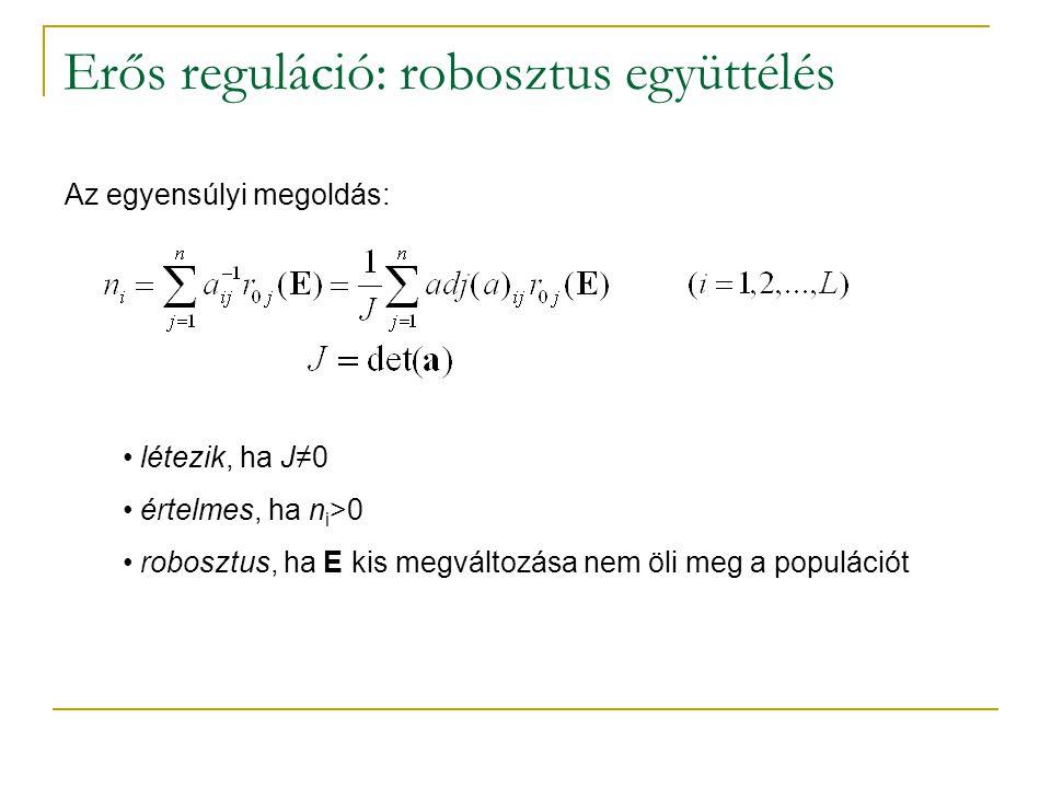 Erős reguláció: robosztus együttélés Az egyensúlyi megoldás: létezik, ha J≠0 értelmes, ha n i >0 robosztus, ha E kis megváltozása nem öli meg a populá
