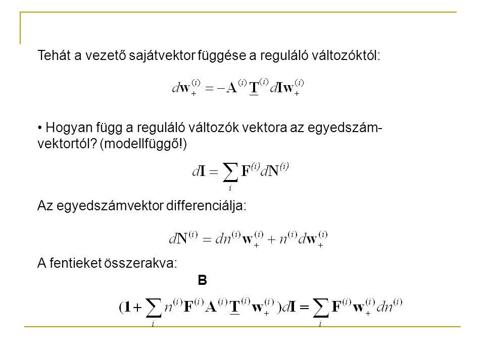 Tehát a vezető sajátvektor függése a reguláló változóktól: Hogyan függ a reguláló változók vektora az egyedszám- vektortól? (modellfüggő!) Az egyedszá