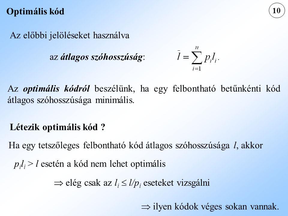 10 Optimális kód Az előbbi jelöléseket használva az átlagos szóhosszúság: Az optimális kódról beszélünk, ha egy felbontható betűnkénti kód átlagos szó