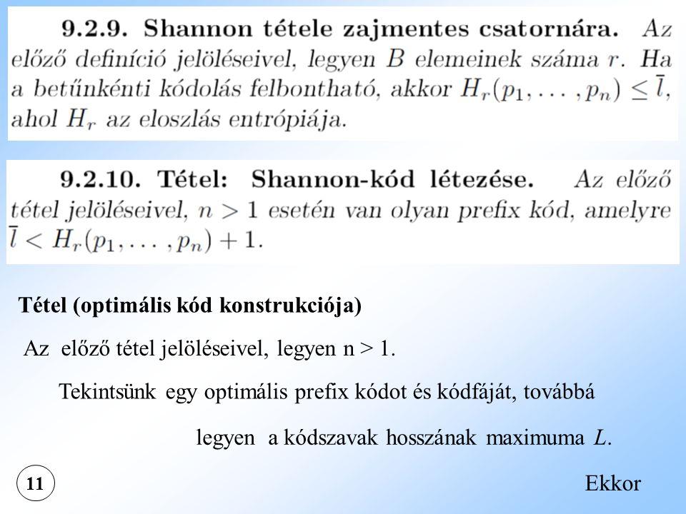 11 Tétel (optimális kód konstrukciója) Az előző tétel jelöléseivel, legyen n > 1. Tekintsünk egy optimális prefix kódot és kódfáját, továbbá legyen a