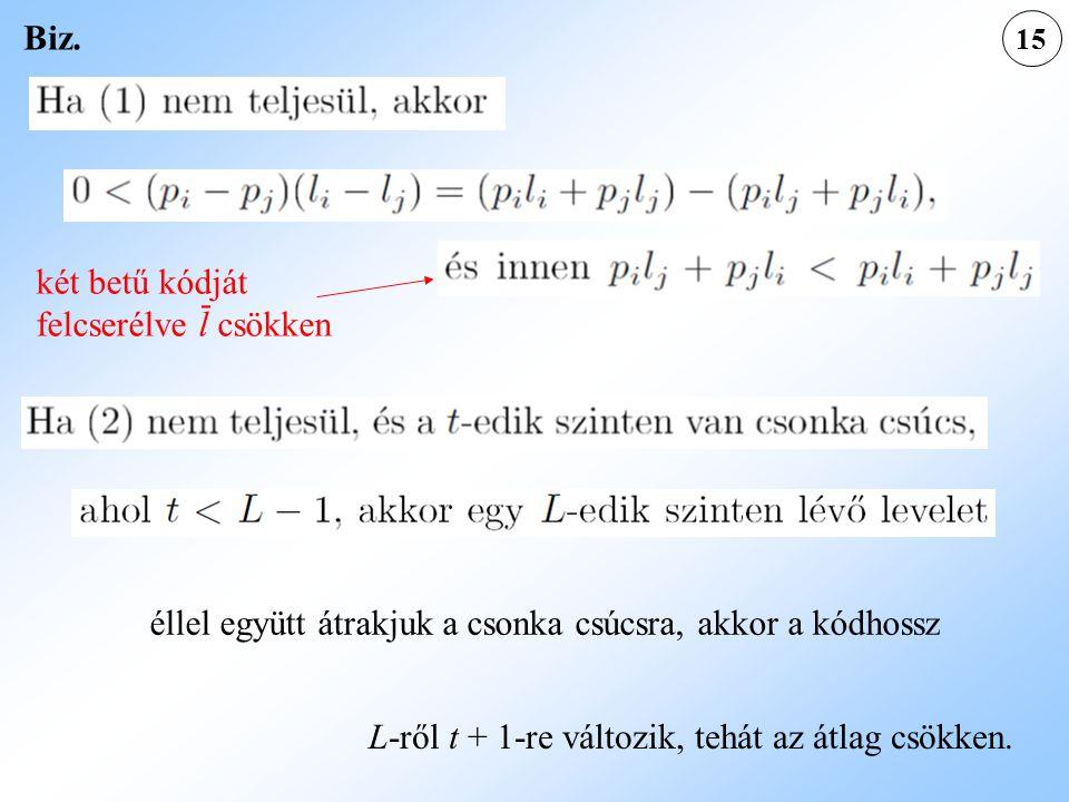 15 éllel együtt átrakjuk a csonka csúcsra, akkor a kódhossz Biz. két betű kódját felcserélve l csökken - L-ről t + 1-re változik, tehát az átlag csökk