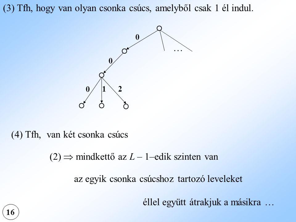 16 (3) Tfh, hogy van olyan csonka csúcs, amelyből csak 1 él indul. (4) Tfh, van két csonka csúcs (2)  mindkettő az L – 1–edik szinten van az egyik cs
