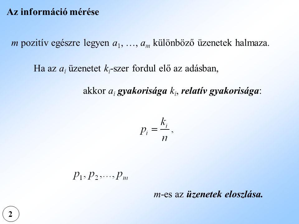 2 Az információ mérése m pozitív egészre legyen a 1, …, a m különböző üzenetek halmaza. Ha az a i üzenetet k i -szer fordul elő az adásban, akkor a i