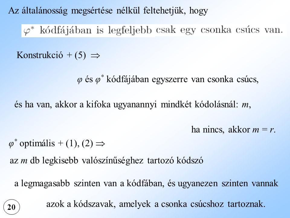 20 Az általánosság megsértése nélkül feltehetjük, hogy Konstrukció + (5)  φ és φ * kódfájában egyszerre van csonka csúcs, és ha van, akkor a kifoka u
