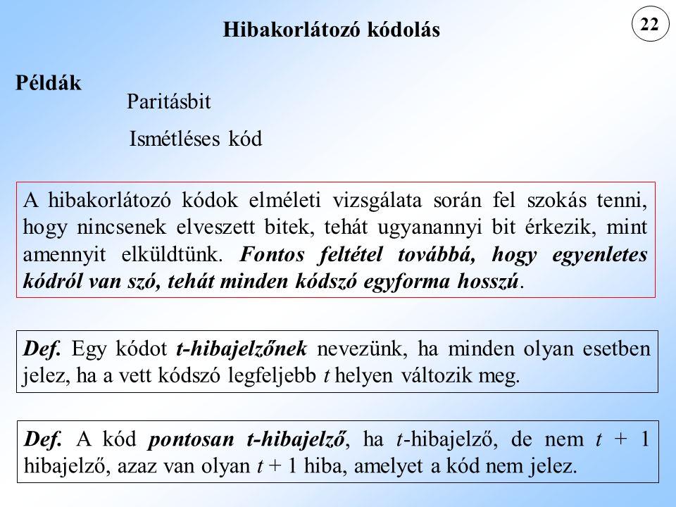 22 Példák Paritásbit Ismétléses kód Def. Egy kódot t-hibajelzőnek nevezünk, ha minden olyan esetben jelez, ha a vett kódszó legfeljebb t helyen változ