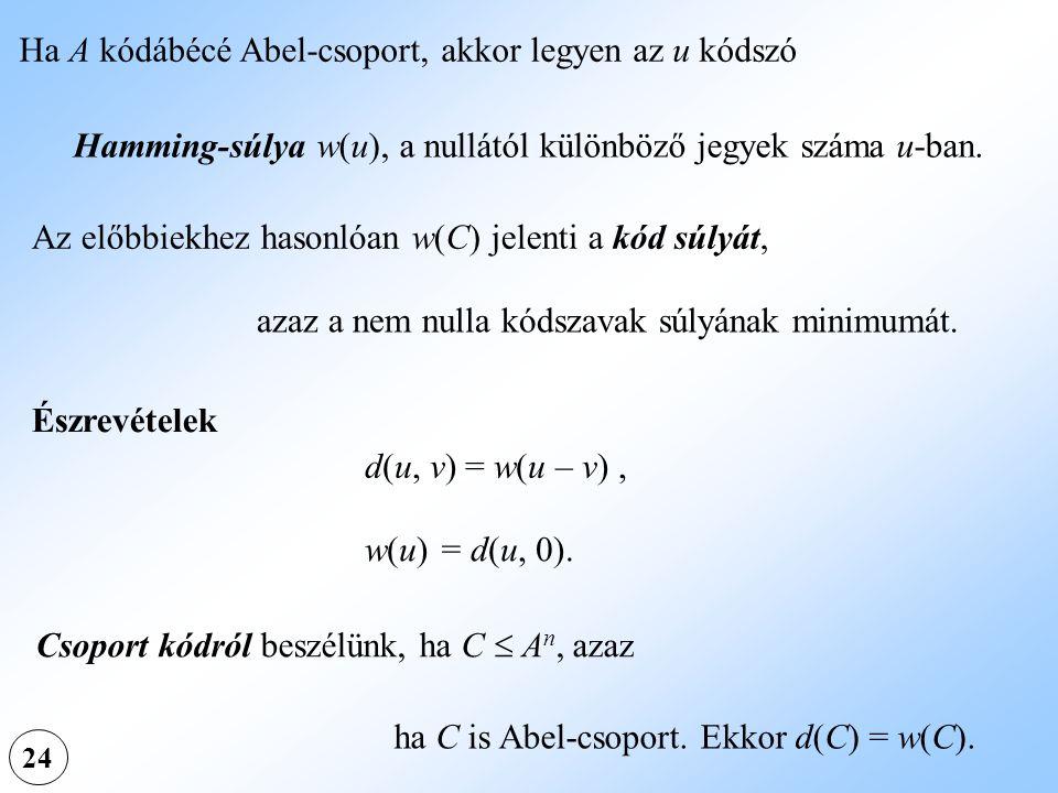 Ha A kódábécé Abel-csoport, akkor legyen az u kódszó Hamming-súlya w(u), a nullától különböző jegyek száma u-ban. Az előbbiekhez hasonlóan w(C) jelent