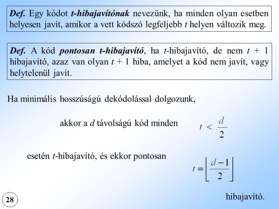 28 Def. Egy kódot t-hibajavítónak nevezünk, ha minden olyan esetben helyesen javít, amikor a vett kódszó legfeljebb t helyen változik meg. Def. A kód