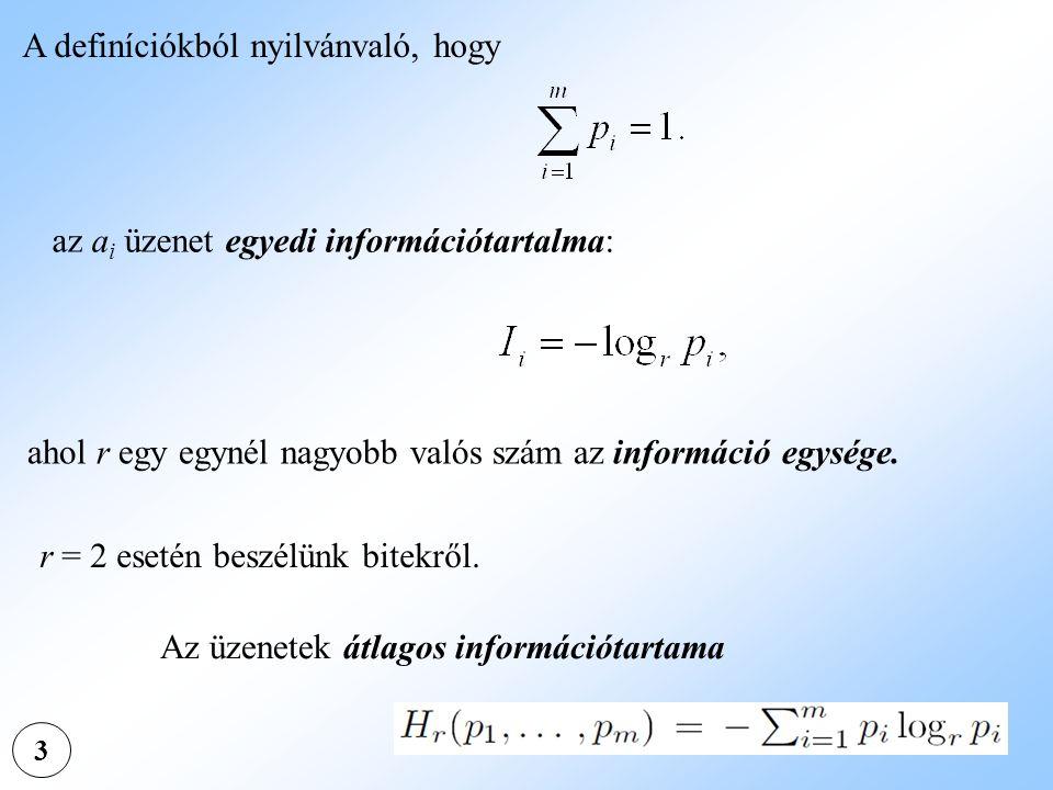 3 A definíciókból nyilvánvaló, hogy az a i üzenet egyedi információtartalma: ahol r egy egynél nagyobb valós szám az információ egysége. r = 2 esetén