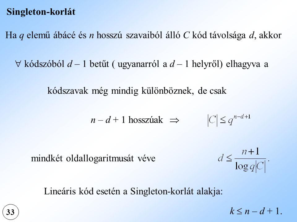 33 Singleton-korlát Ha q elemű ábácé és n hosszú szavaiból álló C kód távolsága d, akkor  kódszóból d – 1 betűt ( ugyanarról a d – 1 helyről) elhagyv