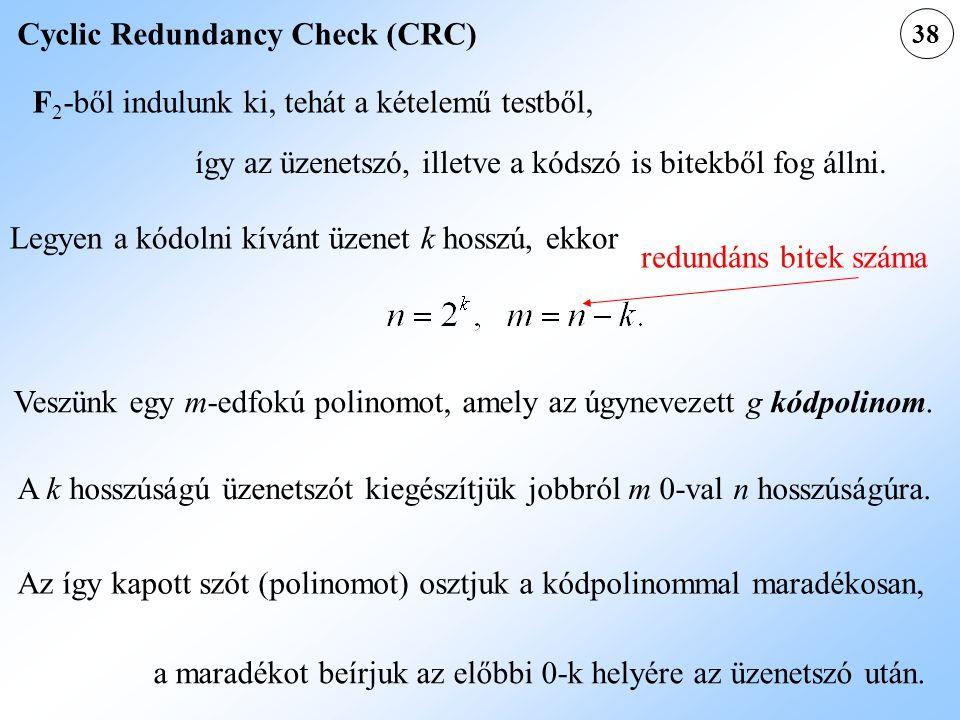38 Cyclic Redundancy Check (CRC) F 2 -ből indulunk ki, tehát a kételemű testből, így az üzenetszó, illetve a kódszó is bitekből fog állni. Legyen a kó
