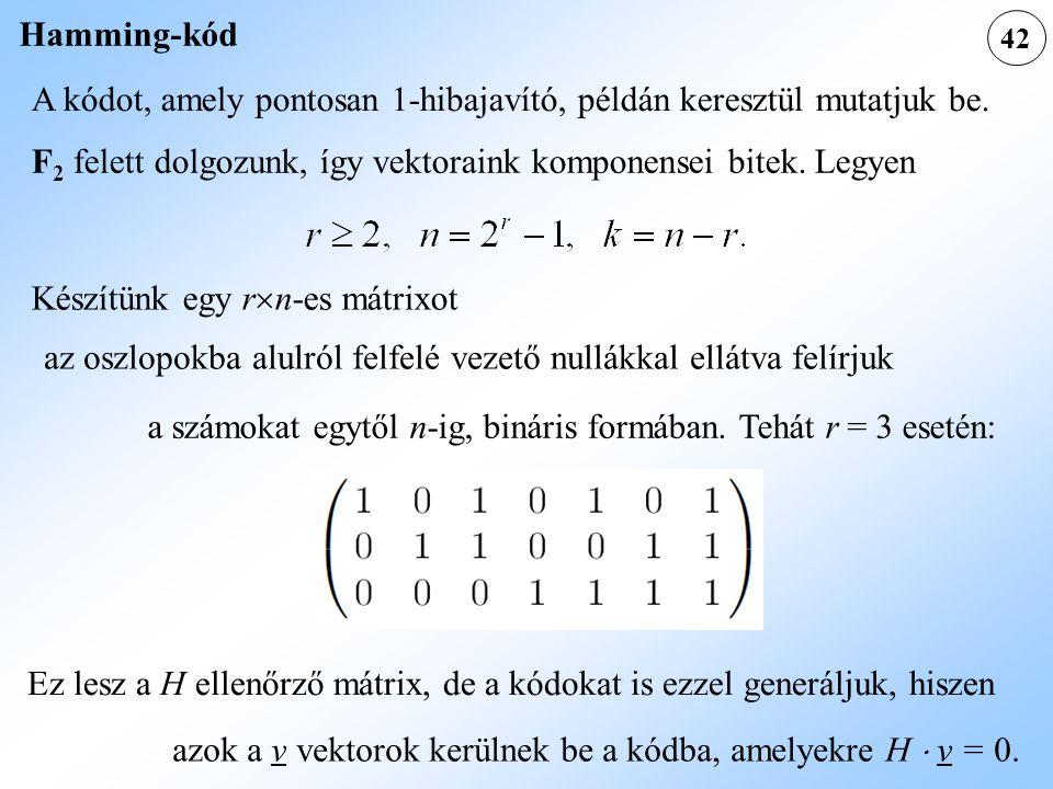 42 Hamming-kód A kódot, amely pontosan 1-hibajavító, példán keresztül mutatjuk be. F 2 felett dolgozunk, így vektoraink komponensei bitek. Legyen Kész