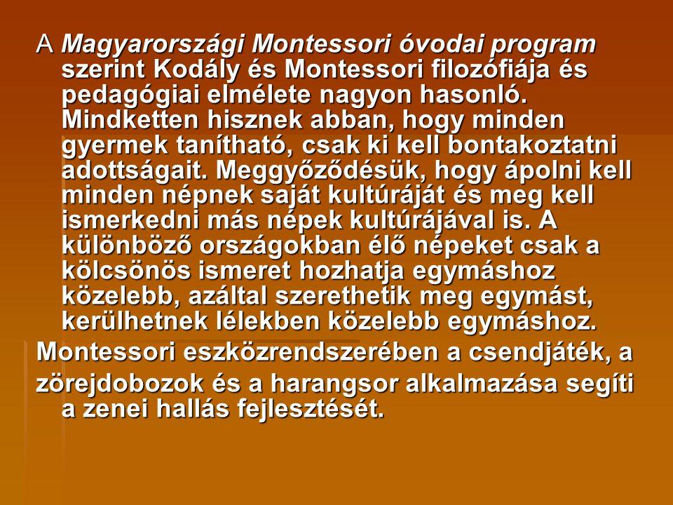 A Magyarországi Montessori óvodai program szerint Kodály és Montessori filozófiája és pedagógiai elmélete nagyon hasonló. Mindketten hisznek abban, ho