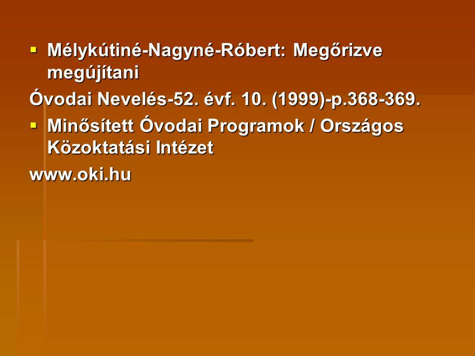  Mélykútiné-Nagyné-Róbert: Megőrizve megújítani Óvodai Nevelés-52. évf. 10. (1999)-p.368-369.  Minősített Óvodai Programok / Országos Közoktatási In