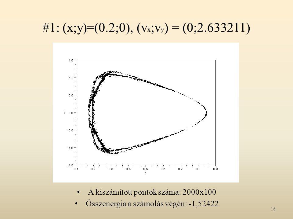#1: (x;y)=(0.2;0), (v x ;v y ) = (0;2.633211) A kiszámított pontok száma: 2000x100 Összenergia a számolás végén: -1,52422 16
