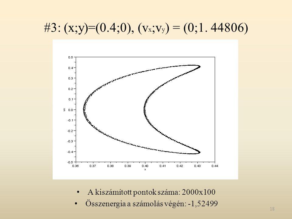 #3: (x;y)=(0.4;0), (v x ;v y ) = (0;1. 44806) A kiszámított pontok száma: 2000x100 Összenergia a számolás végén: -1,52499 18