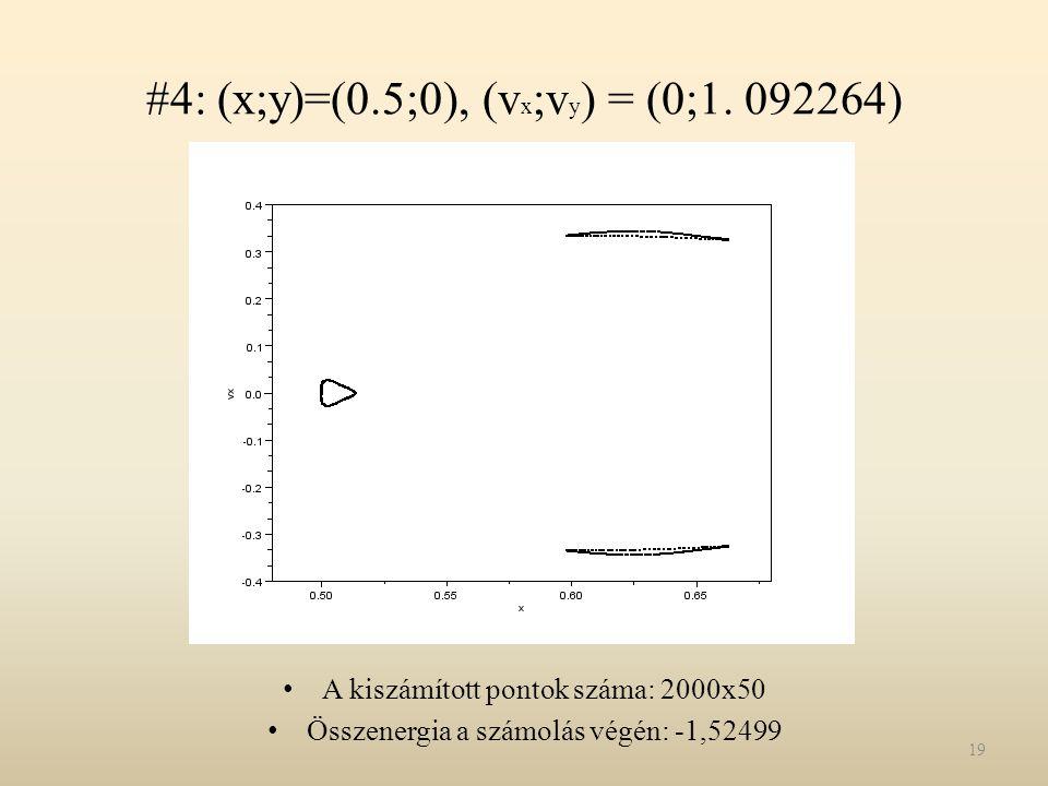 #4: (x;y)=(0.5;0), (v x ;v y ) = (0;1. 092264) A kiszámított pontok száma: 2000x50 Összenergia a számolás végén: -1,52499 19