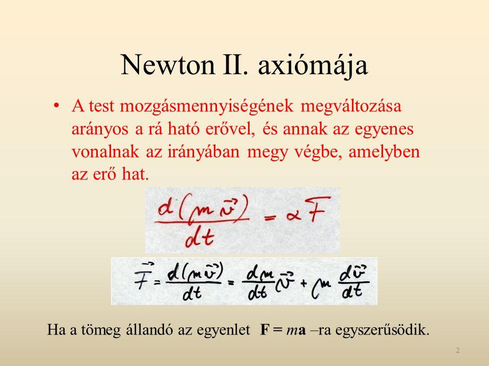 Newton II. axiómája A test mozgásmennyiségének megváltozása arányos a rá ható erővel, és annak az egyenes vonalnak az irányában megy végbe, amelyben a