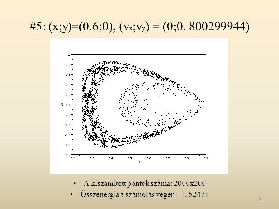 #5: (x;y)=(0.6;0), (v x ;v y ) = (0;0. 800299944) A kiszámított pontok száma: 2000x200 Összenergia a számolás végén: -1, 52471 20
