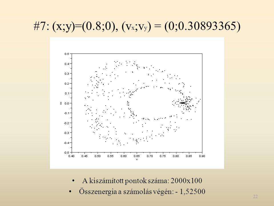 #7: (x;y)=(0.8;0), (v x ;v y ) = (0;0.30893365) A kiszámított pontok száma: 2000x100 Összenergia a számolás végén: - 1,52500 22