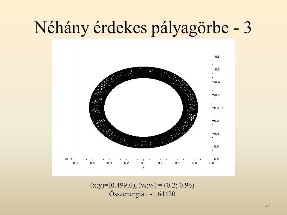 Néhány érdekes pályagörbe - 3 27 (x;y)=(0.499;0), (v x ;v y ) = (0.2; 0.96) Összenergia= -1.64420