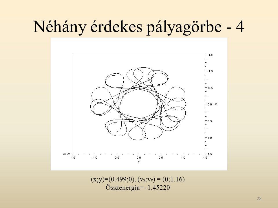 Néhány érdekes pályagörbe - 4 28 (x;y)=(0.499;0), (v x ;v y ) = (0;1.16) Összenergia= -1.45220
