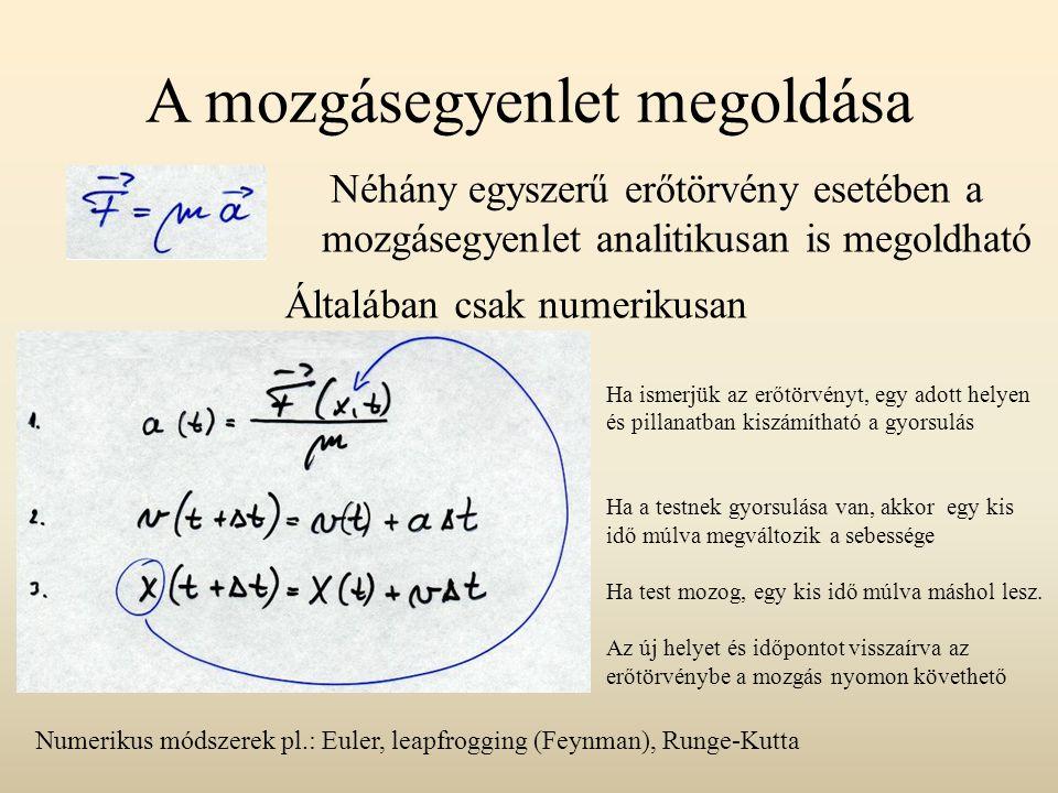 A mozgásegyenlet megoldása Néhány egyszerű erőtörvény esetében a mozgásegyenlet analitikusan is megoldható Általában csak numerikusan Ha ismerjük az e