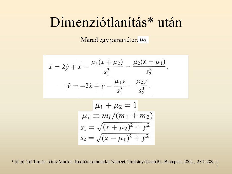 Dimenziótlanítás* után 9 Marad egy paraméter: * ld. pl. Tél Tamás - Guiz Márton: Kaotikus dinamika, Nemzeti Tankönyvkiadó Rt., Budapest, 2002., 285.-2