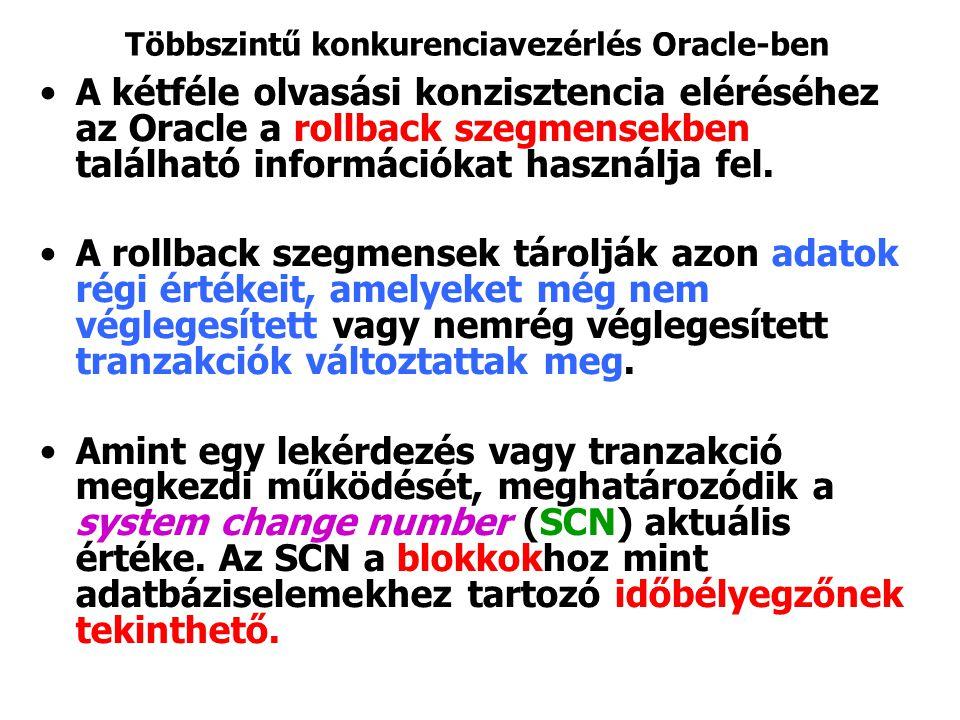 Többszintű konkurenciavezérlés Oracle-ben A kétféle olvasási konzisztencia eléréséhez az Oracle a rollback szegmensekben található információkat haszn