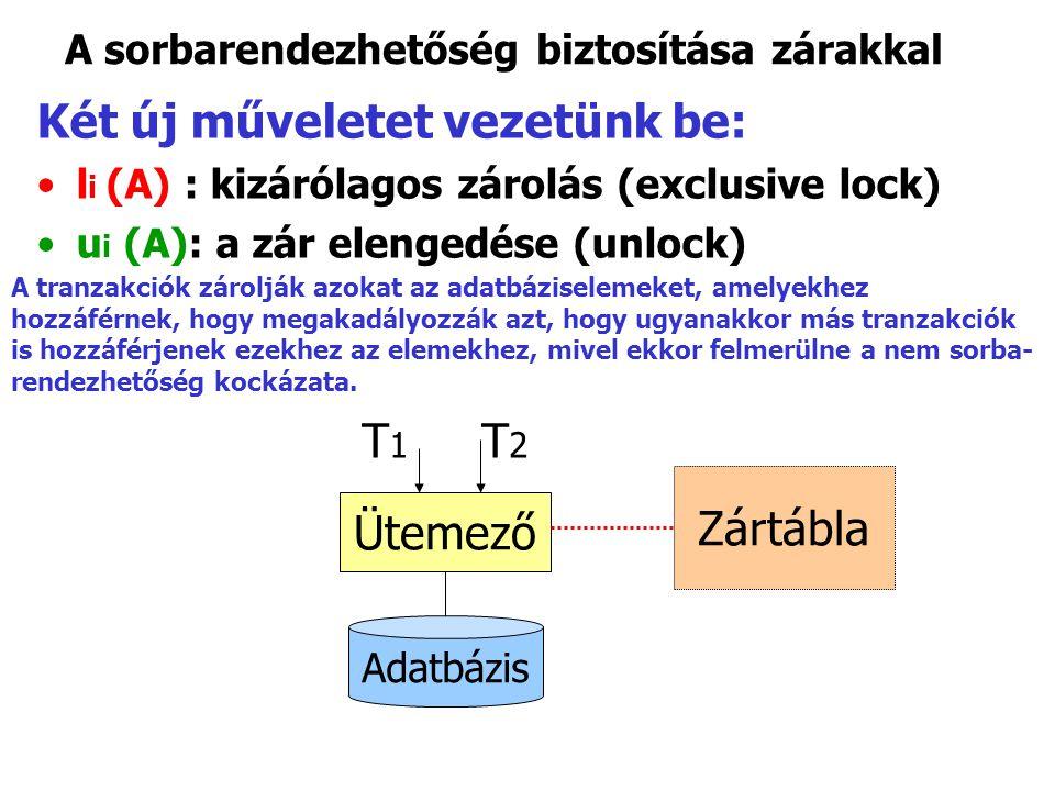 A sorbarendezhetőség biztosítása zárakkal Két új műveletet vezetünk be: l i (A) : kizárólagos zárolás (exclusive lock) u i (A): a zár elengedése (unlo