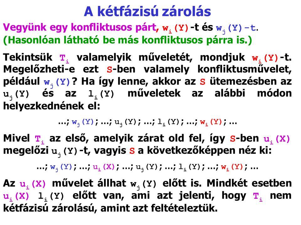 A kétfázisú zárolás Vegyünk egy konfliktusos párt, w i (Y) ‑ t és w j (Y)-t. (Hasonlóan látható be más konfliktusos párra is.) Tekintsük T i valamelyi