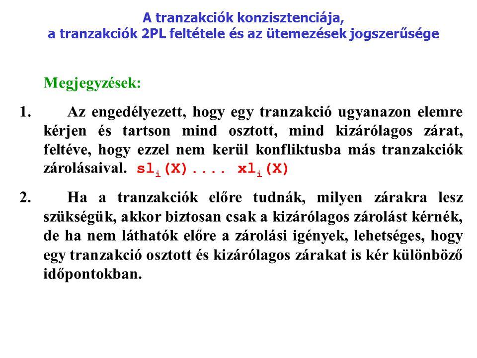 A tranzakciók konzisztenciája, a tranzakciók 2PL feltétele és az ütemezések jogszerűsége Megjegyzések: 1.Az engedélyezett, hogy egy tranzakció ugyanaz