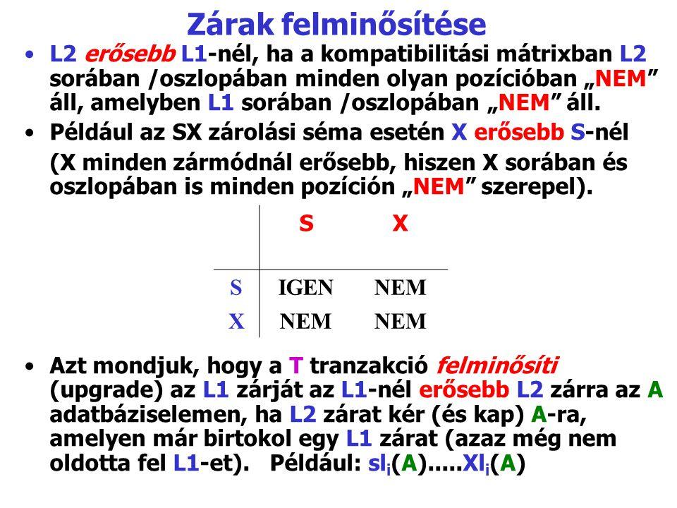 """Zárak felminősítése L2 erősebb L1-nél, ha a kompatibilitási mátrixban L2 sorában /oszlopában minden olyan pozícióban """"NEM"""" áll, amelyben L1 sorában /o"""