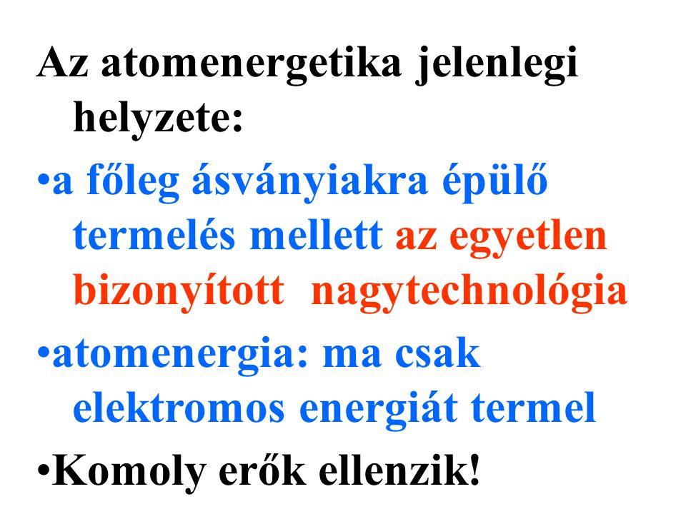 Az atomenergetika jelenlegi helyzete: a főleg ásványiakra épülő termelés mellett az egyetlen bizonyított nagytechnológia atomenergia: ma csak elektromos energiát termel Komoly erők ellenzik!