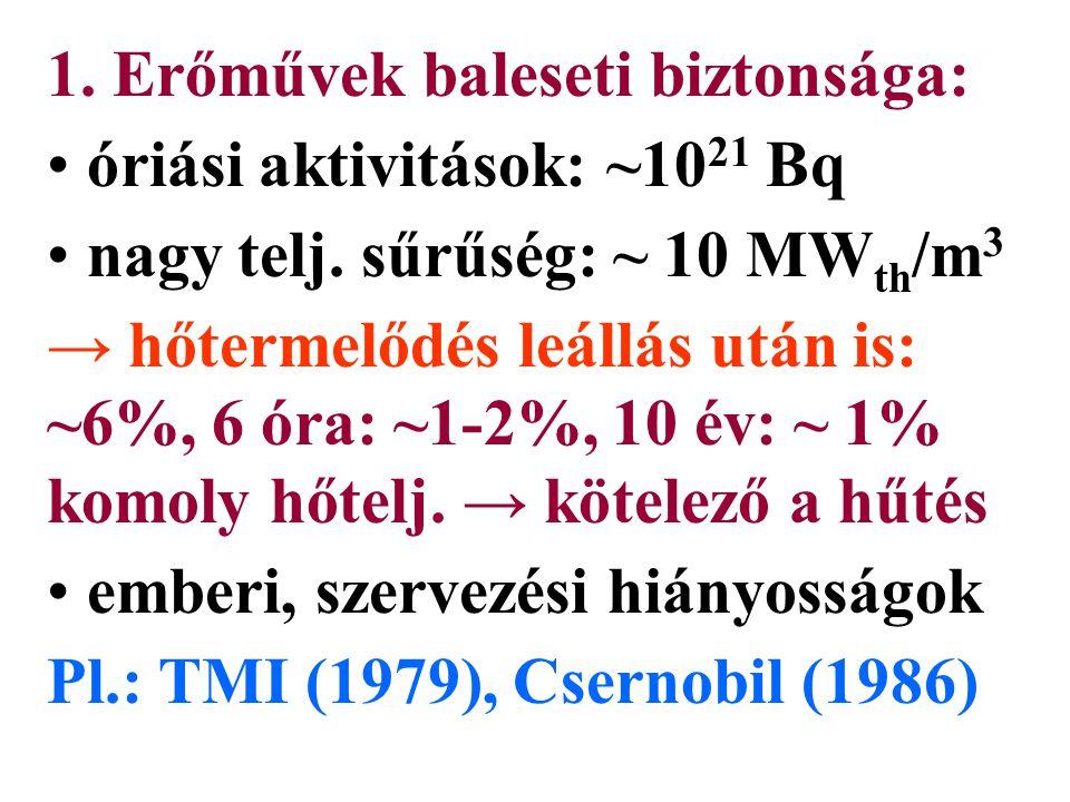 1. Erőművek baleseti biztonsága: óriási aktivitások: ~10 21 Bq nagy telj.