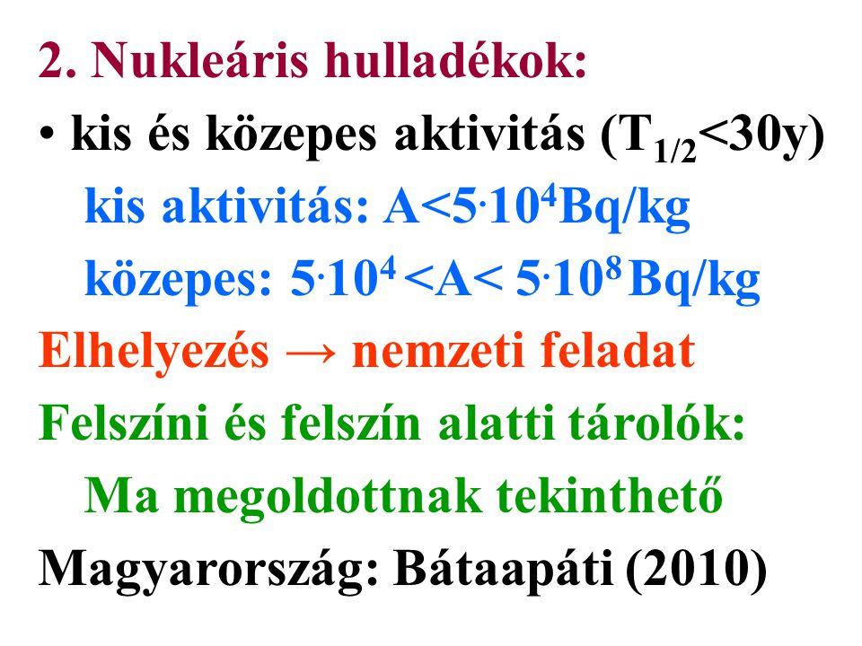 2. Nukleáris hulladékok: kis és közepes aktivitás (T 1/2 <30y) kis aktivitás: A<5.