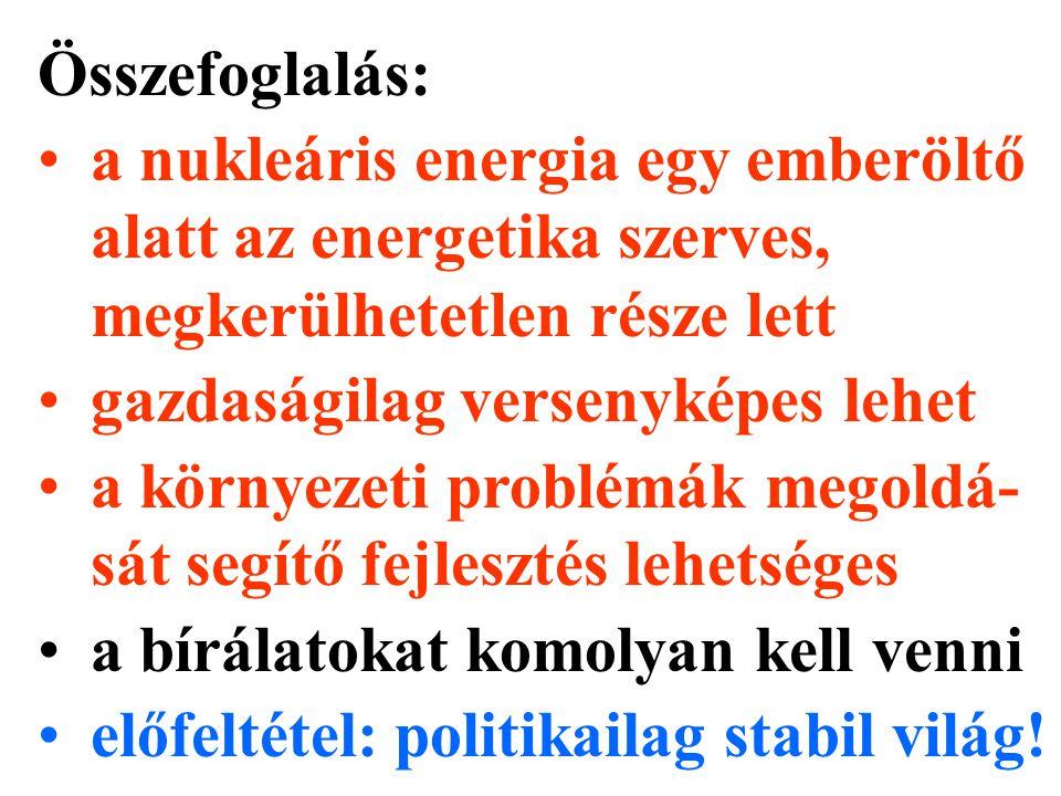 Összefoglalás: a nukleáris energia egy emberöltő alatt az energetika szerves, megkerülhetetlen része lett gazdaságilag versenyképes lehet a környezeti problémák megoldá- sát segítő fejlesztés lehetséges a bírálatokat komolyan kell venni előfeltétel: politikailag stabil világ!