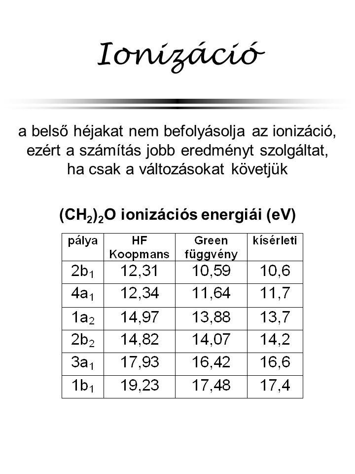Ionizáció a belső héjakat nem befolyásolja az ionizáció, ezért a számítás jobb eredményt szolgáltat, ha csak a változásokat követjük (CH 2 ) 2 O ioniz