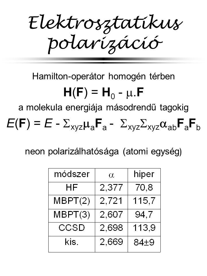 Elektrosztatikus polarizáció Hamilton-operátor homogén térben H(F) = H 0 - .F a molekula energiája másodrendű tagokig E(F) = E -  xyz  a F a -  xyz  xyz  ab F a F b neon polarizálhatósága (atomi egység )