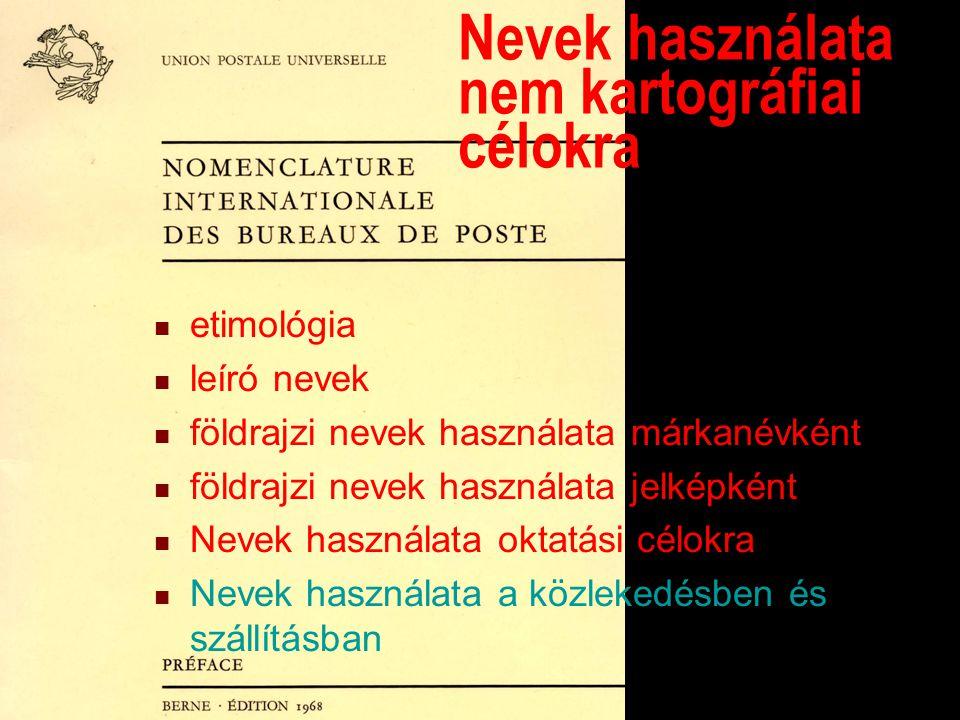Dictionnaire des bureaux de poste Nevek használata nem kartográfiai célokra etimológia leíró nevek földrajzi nevek használata márkanévként földrajzi nevek használata jelképként Nevek használata oktatási célokra Nevek használata a közlekedésben és szállításban
