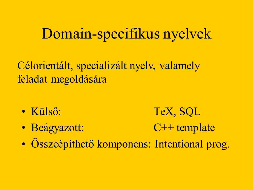 Domain-specifikus nyelvek Külső: TeX, SQL Beágyazott: C++ template Összeépíthető komponens: Intentional prog.