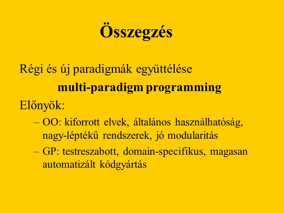 Régi és új paradigmák együttélése multi-paradigm programming Előnyök: –OO: kiforrott elvek, általános használhatóság, nagy-léptékű rendszerek, jó modularitás –GP: testreszabott, domain-specifikus, magasan automatizált kódgyártás Összegzés