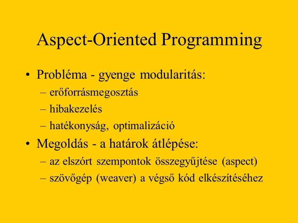 Aspect-Oriented Programming Probléma - gyenge modularitás: –erőforrásmegosztás –hibakezelés –hatékonyság, optimalizáció Megoldás - a határok átlépése: –az elszórt szempontok összegyűjtése (aspect) –szövőgép (weaver) a végső kód elkészítéséhez