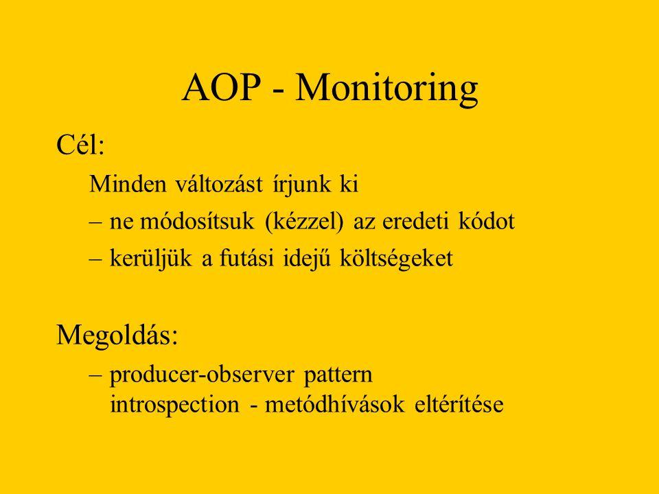AOP - Monitoring Cél: Minden változást írjunk ki –ne módosítsuk (kézzel) az eredeti kódot –kerüljük a futási idejű költségeket Megoldás: –producer-observer pattern introspection - metódhívások eltérítése