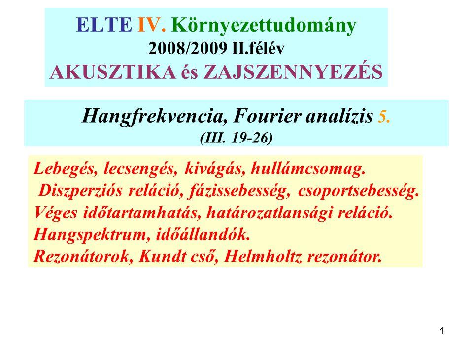 1 Hangfrekvencia, Fourier analízis 5. (III. 19-26) Lebegés, lecsengés, kivágás, hullámcsomag. Diszperziós reláció, fázissebesség, csoportsebesség. Vég
