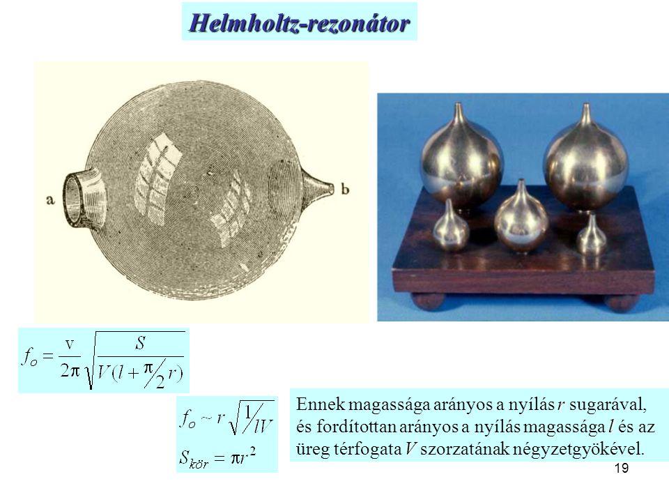19 Helmholtz-rezonátor r l V Ennek magassága arányos a nyílás r sugarával, és fordítottan arányos a nyílás magassága l és az üreg térfogata V szorzatá