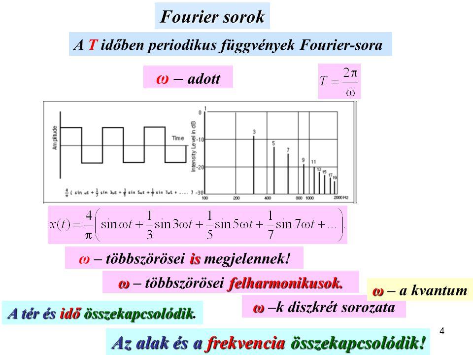 4 Fourier sorok A T időben periodikus függvények Fourier-sora ω – adott is ω – többszörösei is megjelennek! ωfelharmonikusok. ω – többszörösei felharm