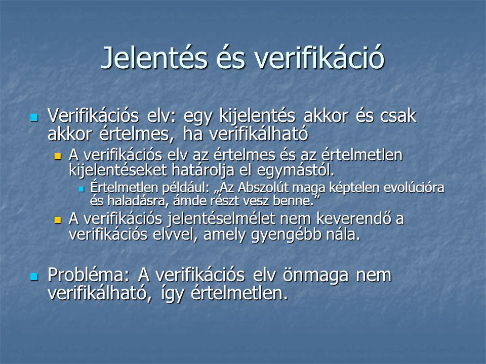Jelentés és verifikáció Verifikációs elv: egy kijelentés akkor és csak akkor értelmes, ha verifikálható Verifikációs elv: egy kijelentés akkor és csak